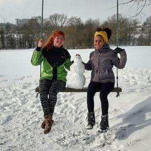 snevejr, snemand, idrætshøjskolen viborg, gynge